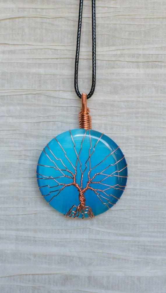 Pendentif Wire Wrap Tree of Life Blue Cats Eye verre pendentif fil enveloppé de cuivre avec du cuivre