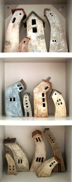 love these crooked houses! (via …   Pottery ideas)