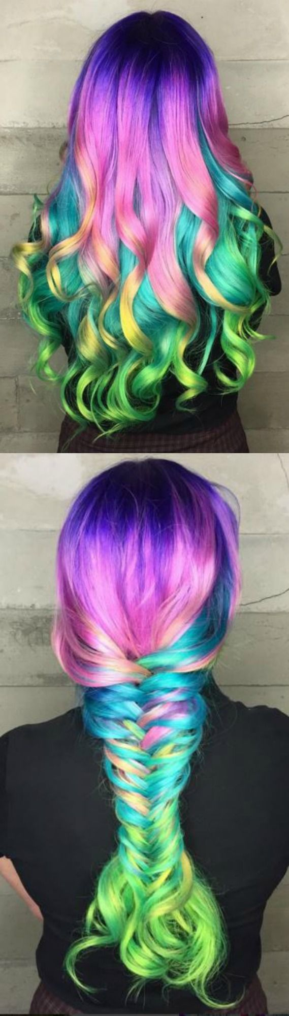 Collage of Multi-Colored Hair in Curls & Big Braid♡ #Hairstyle #Dyed_Hair #Beauty