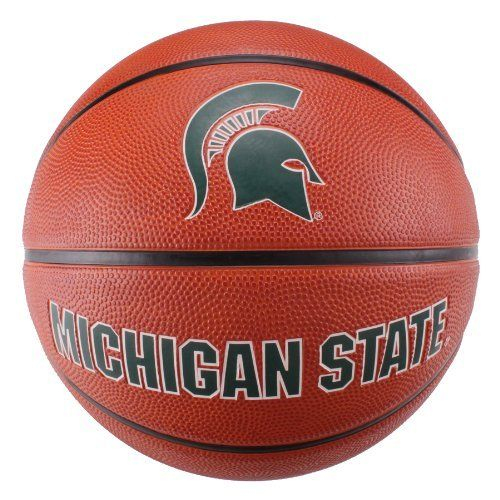 NCAA Michigan State Spartans Deluxe Two-Tone Rubber Official Size Collegiate Design Basketball by Baden. $18.99. Show your team spirit!. Superior durability for long ball life. Deluxe rubber with deep, recessed channels for maximum grip. Two-tone pebble looks like leather!. Perfect for indoor or outdoor use. The Baden BRSKT two-tone deluxe rubber basketball has the look of leather ball with the durability for rugged outdoor play.  With wide, deep channels, this ball o...