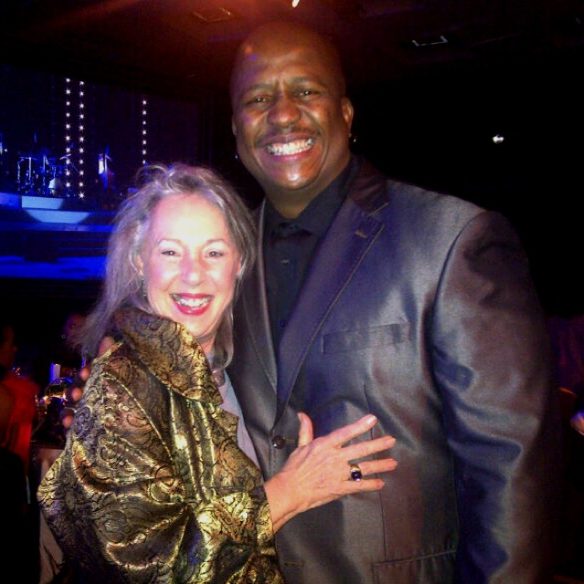 Jenny Crwys-Williams at the #MTNradioAwards! Laughing coz wifey took pic & tjooned her to loosen her grip! :-)