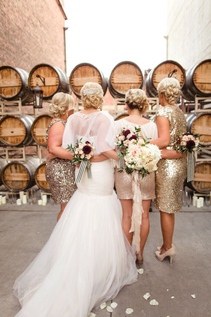 The 25 best gold glitter bridesmaid dresses ideas on pinterest the gorgeous bride with her sparkly bridesmaids wedding gold glitter glam ombrellifo Gallery