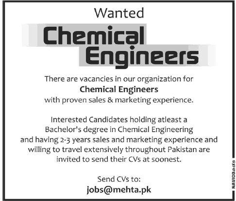chemical engineering jobs in pakistan