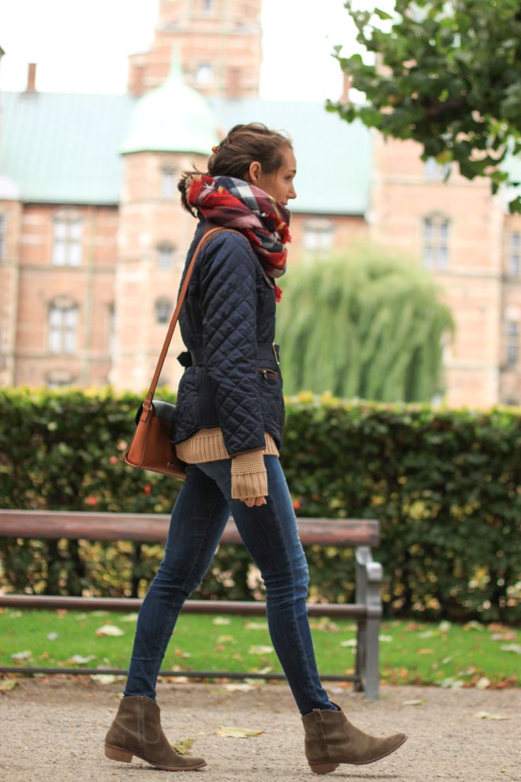 plaid blanket scarf, booties, quilted jacket for fall — via @TheFoxandShe