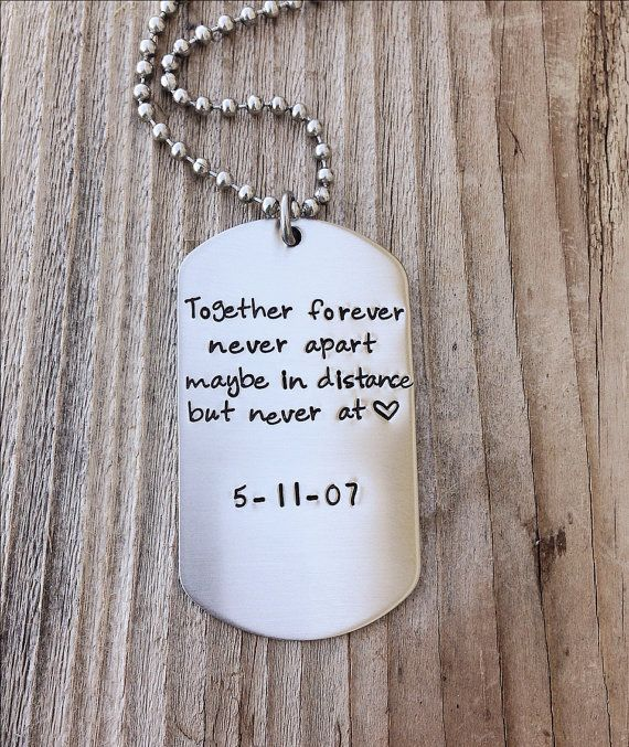 Long Distance Relationship Custom Dog Tag Hand Stamped Gift For Him Military Couple Anniversary Jewelry