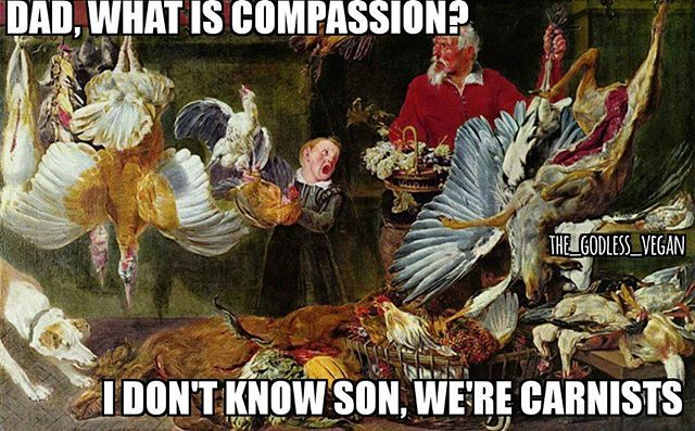 -__- #godlessvegan #vegan #carnist #goveganfortheanimals #nosuchthingashumaneslaughter #veganhumor #funnyvegan #plantbasedhumor #plantbasedrebel #meat #meateaterlogic #antivegan #veganfoodshare #veganfollow #becompassionate #bethechange #becausevegan