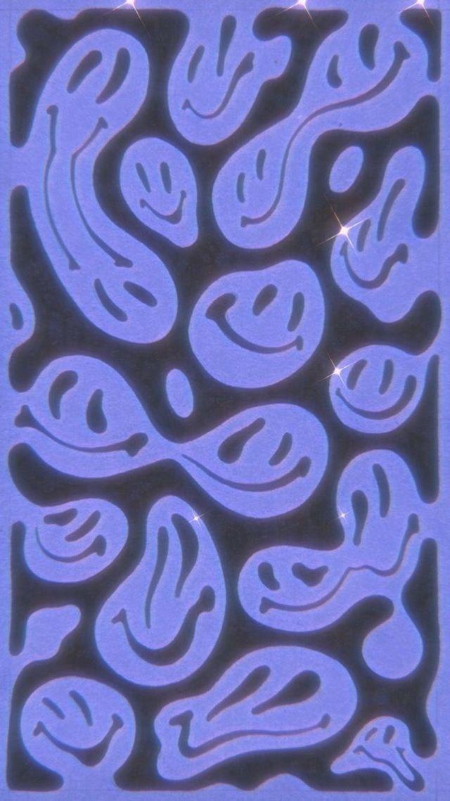 Потекшие смайлики принт ткань вуаль лен купить
