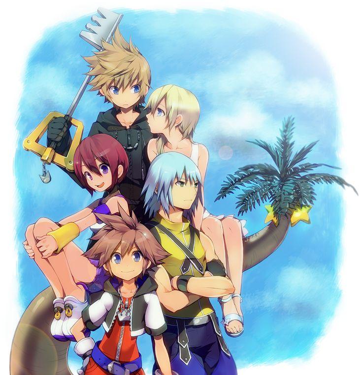 Kingdom Hearts (from bottom to top): Sora, Riku, Kairi, Namine, and Roxas