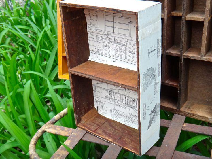 Wooden Cubby Box, Blueprint Decoupage Box, Rustic Wood Box, Man Cave Rustic…
