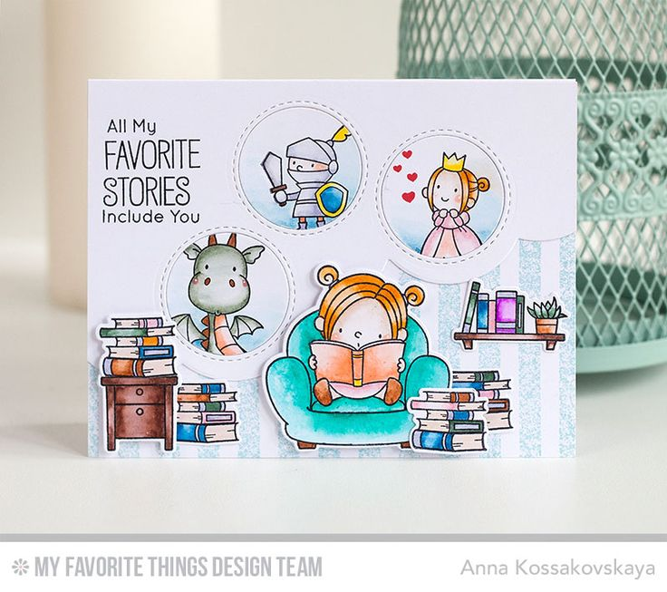 Our Story Stamp Set and Die-namics, Magical Dragons Stamp Set, Undeniable Chemistry Stamp Set, Stitched Triple Peek-a-Boo Window & Edge Die-namics, Distressed Stripes Background - Anna Kossakovskaya  #mftstamps