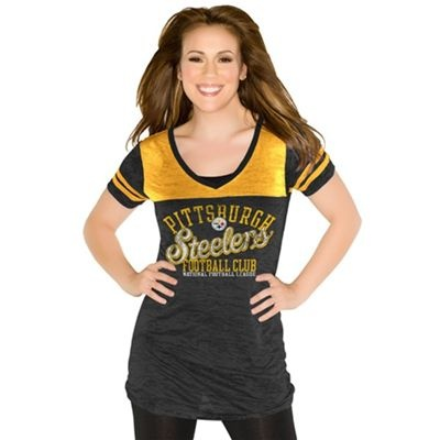 "Fanzz Mobile Sports Apparel,Pittsburgh Steelers Women's ""The Coop"" Touch 2-Color V-Neck Burnout NFL T-Shirt (Black) NFL, NBA, MLB Apparel, NFL, MLB, NBA Jerseys and Merchandise, NHL Shop 