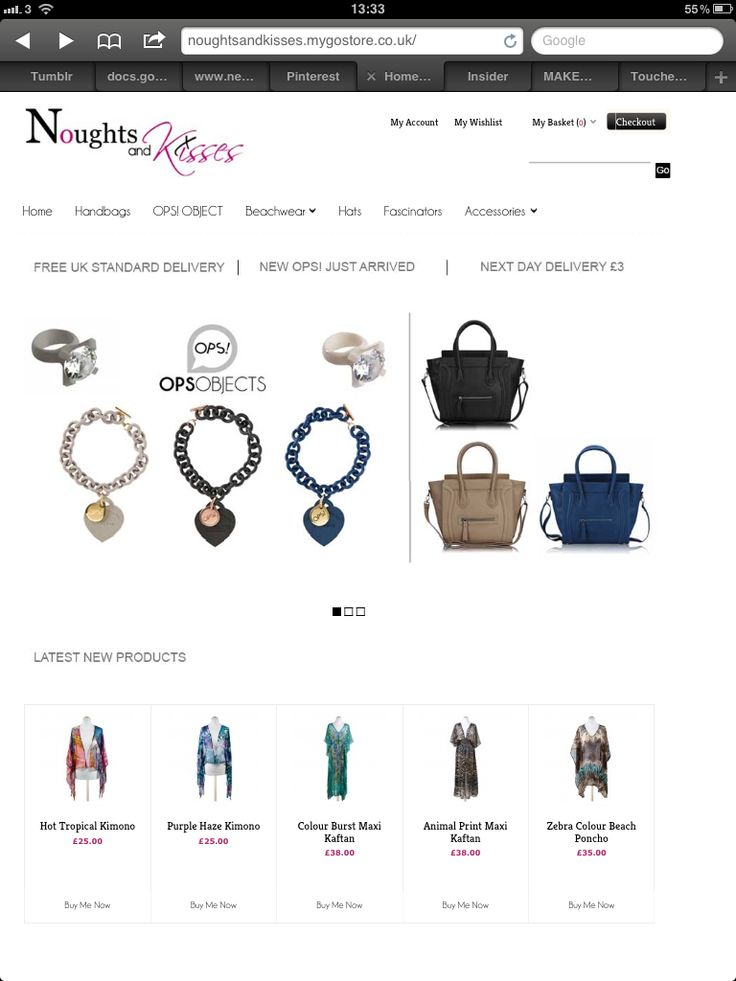 E-commerce site. Trendy fashion and accessories for ladies. http://www.noughtsandkisses.co.uk