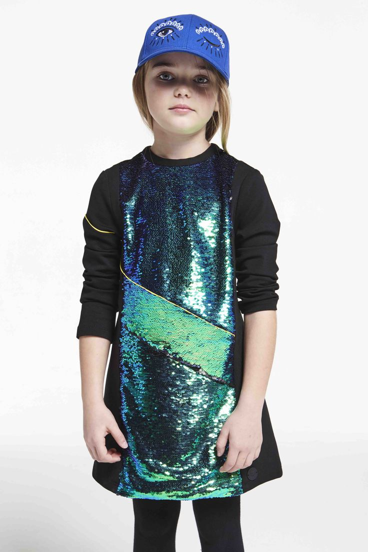 Supercool girls sequin dress at Kenzo for kidswear fall/winter 2015