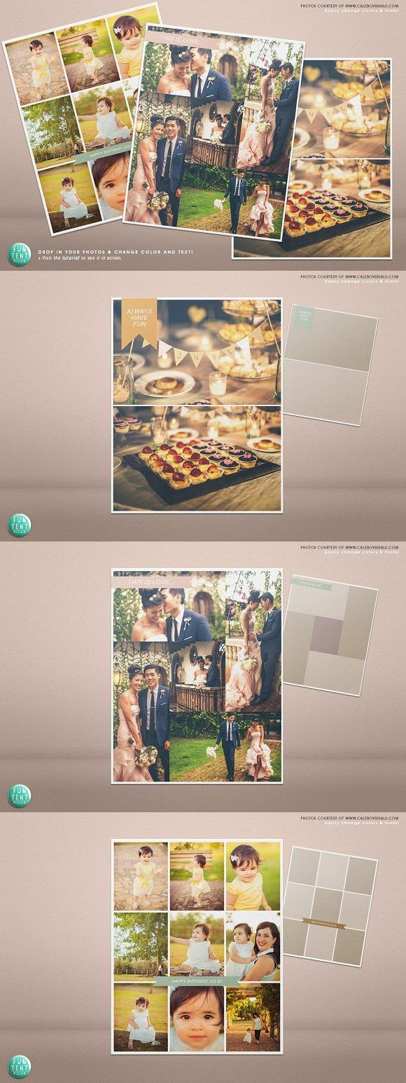 3 Blog boards collage template 16x20. Wedding Fonts