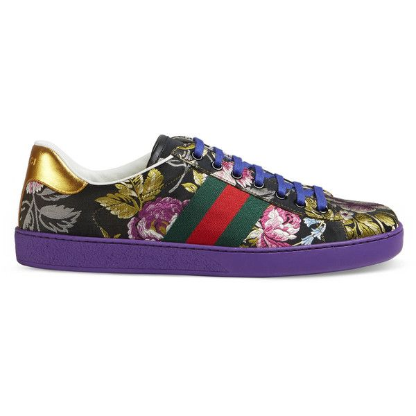 Gucci Ace Floral Jacquard Sneaker (303.145 CLP) ❤ liked on Polyvore featuring men's fashion, men's shoes, men's sneakers, sneakers, men, shoes, mens shoes, mens floral print shoes, mens red sneakers and gucci mens sneakers
