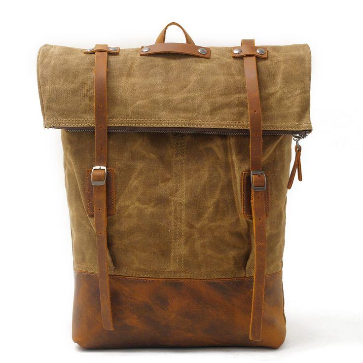 Waxed Canvas Leather Backpack Travel Backpack Rucksack AF40