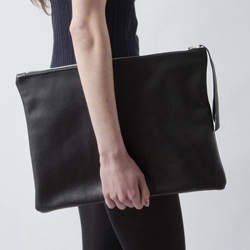 $175 Black Leather Portfolio Clutch via boutiika.com