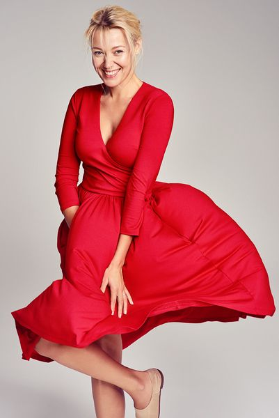 WRAP DRESS happy red #dress #happy #red #fashion #midi #elegant #classy #comfortable #outfit #natural #beauty
