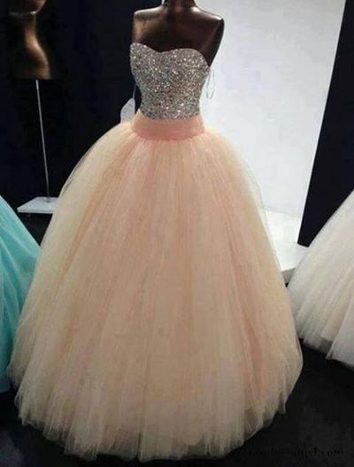 Beading Sweetheart Ball Gown Long Tulle Quinceanera Dress/Prom Gown/Prom Dress