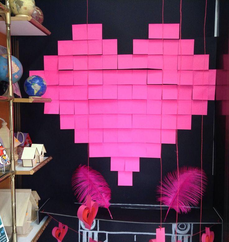 Post it heart window display