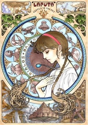 Art Noveau Illustrations for famous anime characters of Hyao Miyazaki.