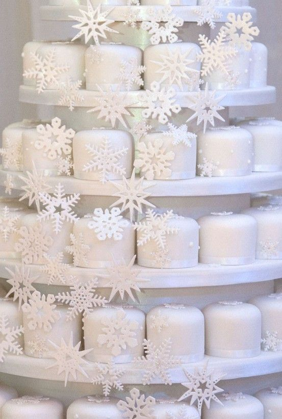 White Snowflake Wedding Cupcakes... Wedding ideas for brides, grooms, parents & planners ... https://itunes.apple.com/us/app/the-gold-wedding-planner/id498112599?ls=1=8 … plus how to organise an entire wedding ♥ The Gold Wedding Planner iPhone App ♥