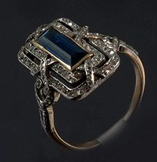Edwardian lozenge natural unheated sapphire and diamond quality ring 1910c
