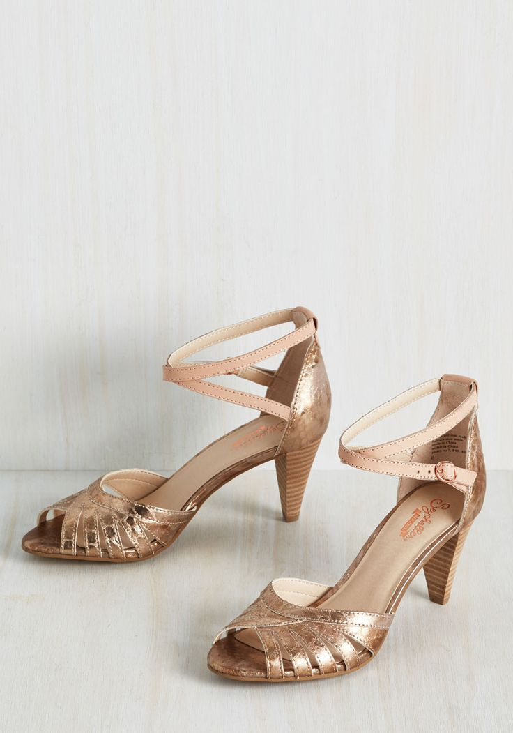 Scenic Heel in Rose Gold by Seychelles - Pink, Solid, Cutout, Wedding, Party, Daytime Party, Graduation, Vintage Inspired, 30s, Minimal, Better, Peep Toe, Rose Gold, Metallic, Variation