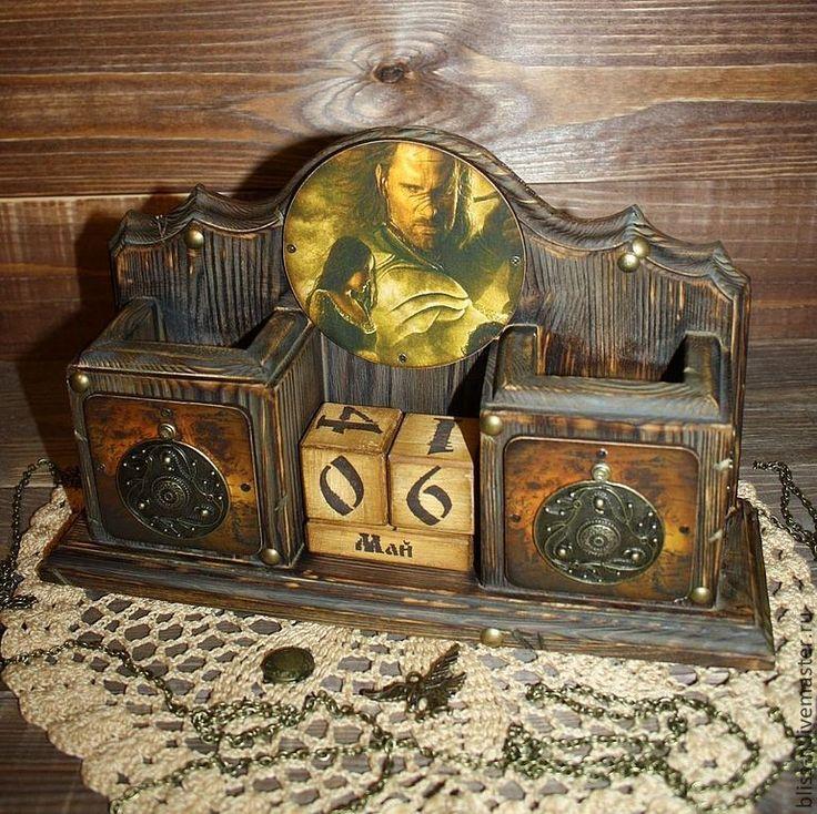 """Купить Вечный календарь """"Lord of the Rings"""" - коричневый, Властелин колец, арагон, щит"""