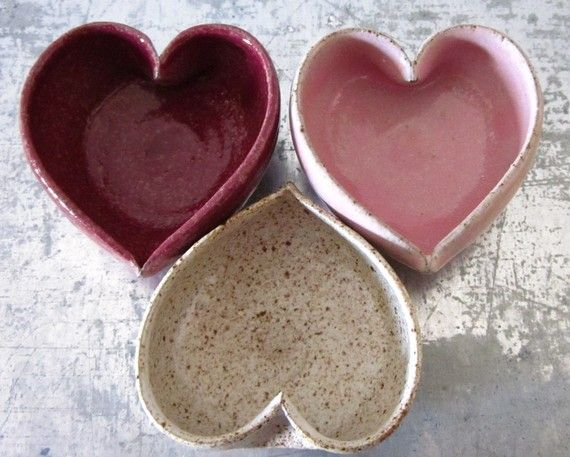trio of ceramic heart bowls by JDWolfePottery on Etsy