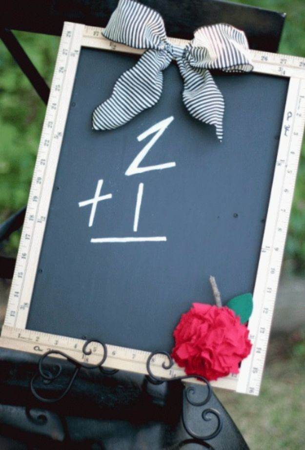 DIY Teacher Gifts - Ruler Chalkboard With Fabric Apple - Cheap and Easy Presents and DIY Gift Ideas for Teachers at Christmas, End of Year, First Day and Birthday - Teacher Appreciation Gifts and Crafts - Cute Mason Jar Ideas and Thoughtful, Unique Gifts from Kids http://diyjoy.com/diy-teacher-gifts
