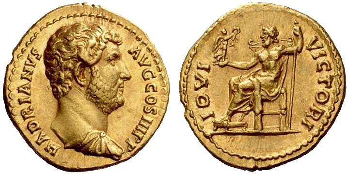 РИМСКАЯ ИМПЕРИЯ. Рим. Адриан. (117—138 гг.). Аурей 134—138 гг., золото.