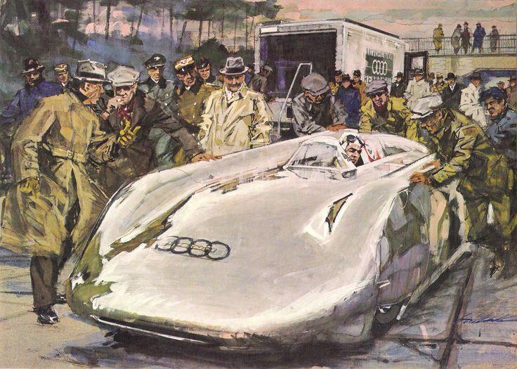 El 1 de enero de 1938, B. Rosemeyer, en la Frankfurt autobahn, intenta el record que termina con su muerte.