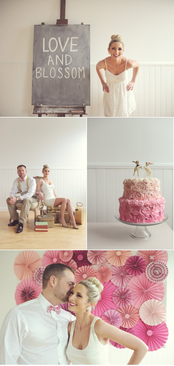 pink ombre backdrop + pink ombre cake
