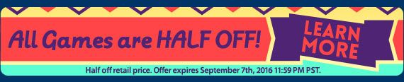 Half Off Sale! All Games Are Half Off! Collector's Editions use code SAVE50 and Standard versions use code GAMES. Offer valid September 7, 2016. #sale #discount #games #pc #mac #casual #hiddenobject #offer #puzzle #casualgame #timemanagement #adventure #towerdefense http://wholovegames.com