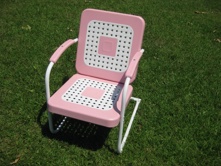 Refurbished Vintage Bouncy Patio Porch Glider Chair In Pink |