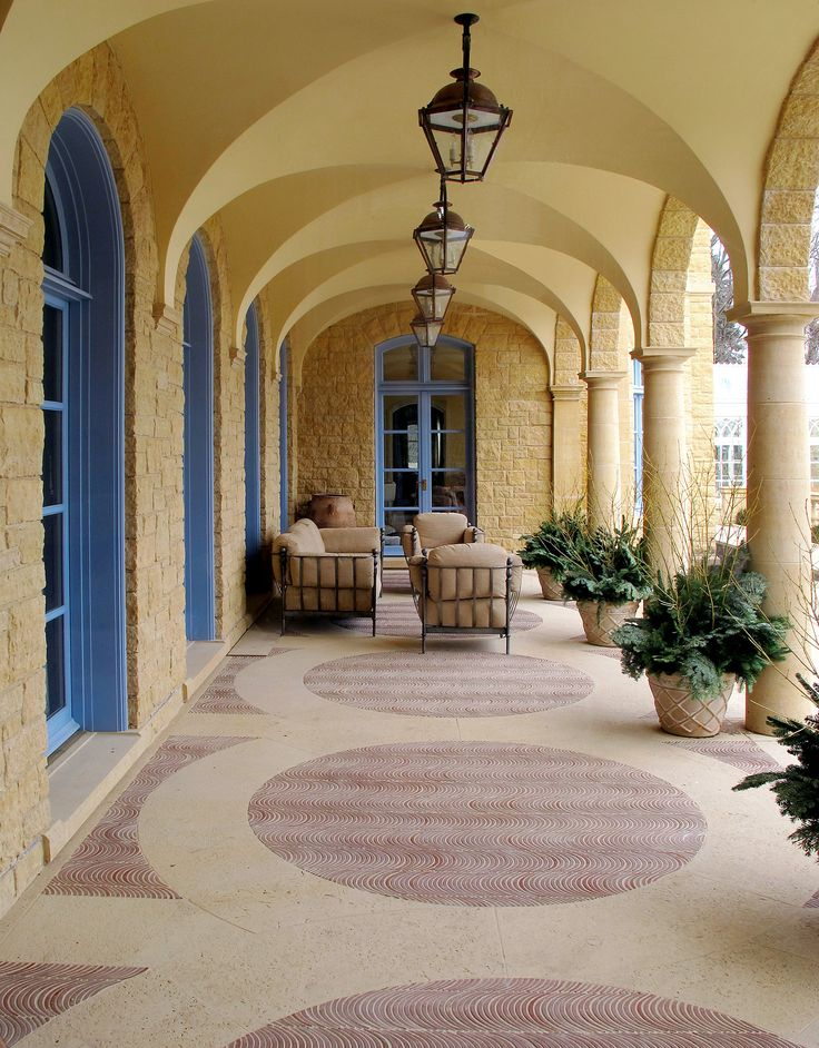The left over hand painted roof tiles were cut and used as the floor tiles in the loggia.