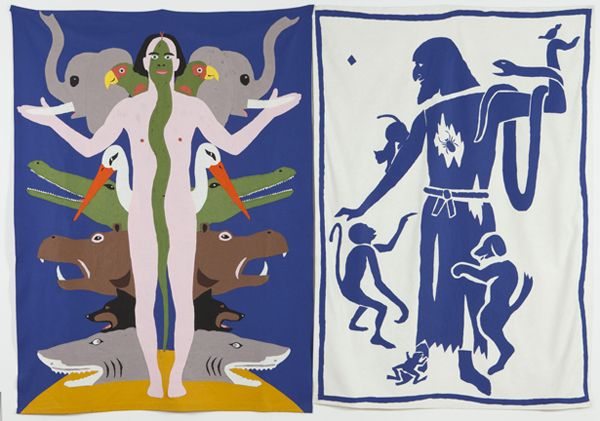 Mike Kelley, Animal Self and Friend of Animal, 1987. Glued felt, two parts; 241 x 172 cm and 244 x 183 cm