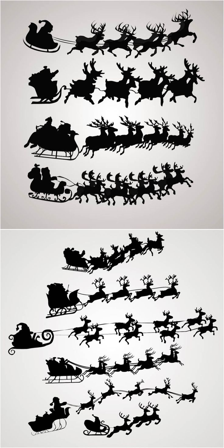 Santa Claus on a sleigh vector. Free download!! /  Le Père-Noël, son traineau et ses rennes...