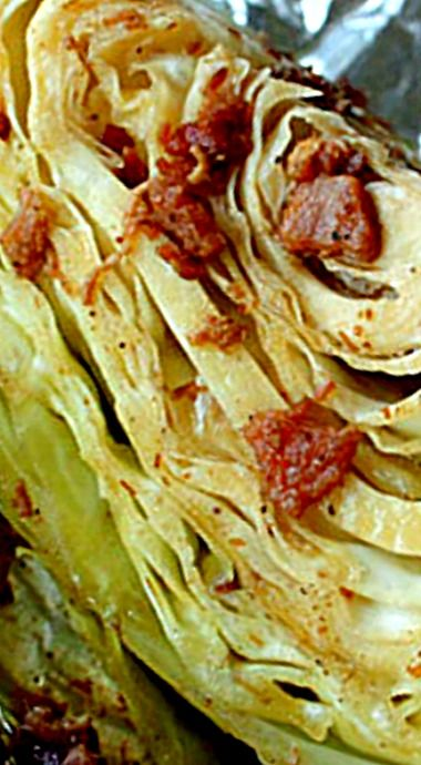 Oven Roasted Cabbage Wedges with Bacon ❊