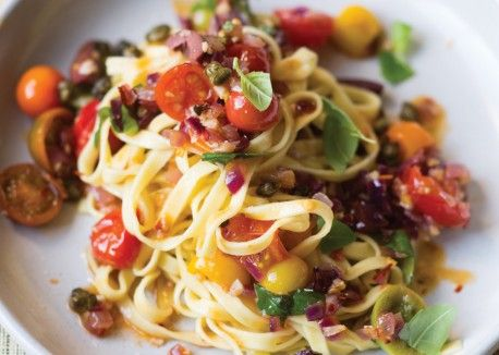 Puttanesca Sauce with Fried Capers over Linguine