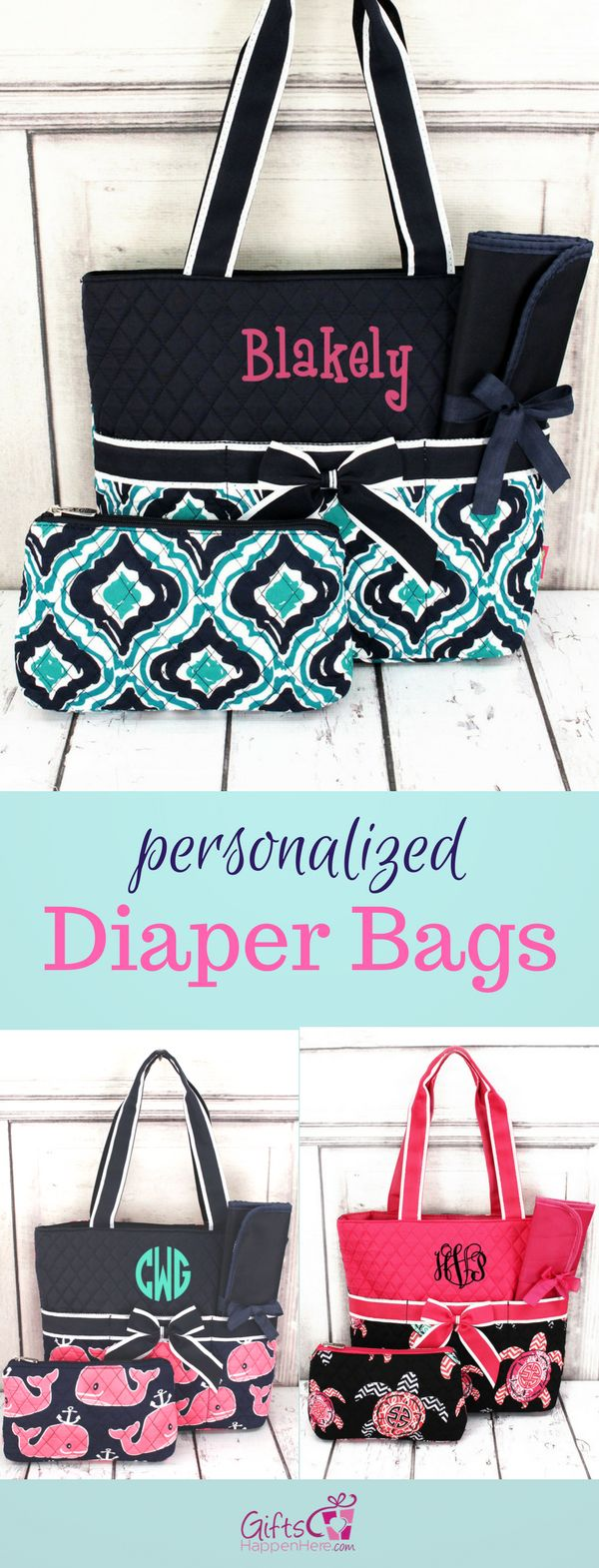 166 best best of gifts happen here images on pinterest personalized diaper bag quilted baby tote changing pad negle Image collections