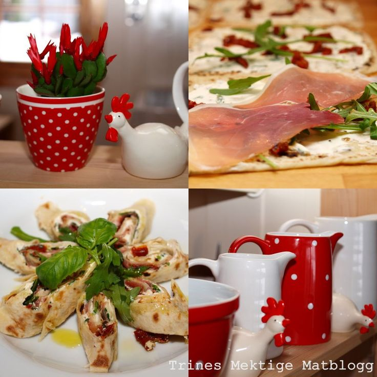 » Lefse med parmaskinke, basilikumkrem og soltørket tomat