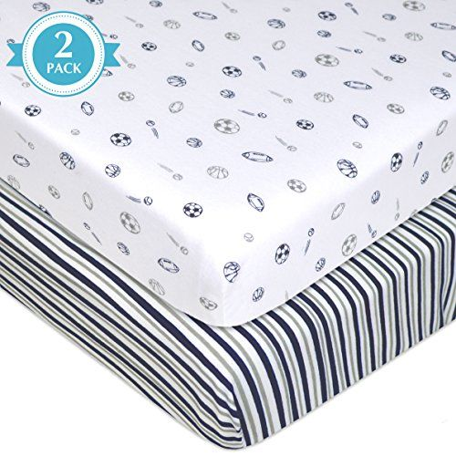 """American Baby Company 2 Piece Printed 100% Cotton Jersey Knit Fitted Portable/Mini-Crib Sheet, Navy/Grey Stripes/Sports  100% Jersey Cotton. Measures 28 inches x 38 inches  SOFT. Our Value Jersey mini-crib sheets offer a warm, tee shirt like feel for exceptional comfort.  SELECTION. Available in a variety of colors to match any style.  QUALITY. Snug fit up to 3"""" thick mattress and elastic all around. Machine washable and dryable  VALUE. Quality and Selection at a great price."""