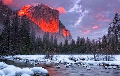 sunsetYosemite National Parks, Nature, California, Rocky Mountain, Beautiful, Sunris, Winter Wonderland, Places, Sunsets Photography