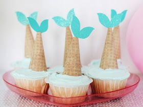 Use sugar cones to make mermaid tail cupcakes! #finfun #mermaids #mermaidtails