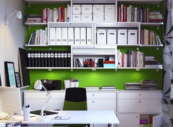 Ikea Office   Love That Green Wall With All White Furniture/shelving   It  Looks So Fresh