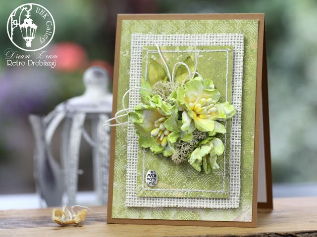 scrapbooking flower card, juta