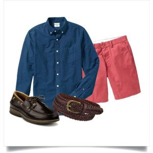 Polyvore: Navy OCBD, terracotta red shorts, brown braided leather belt, amaretto Sperry A/O 2.