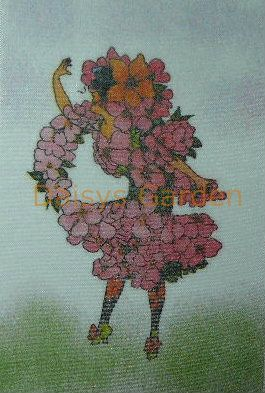 Flower Children Satin Transfer - Apple Blossom . Daisys Garden Embroidery is an Online Store supplying to the hand embroiderer and crafter.